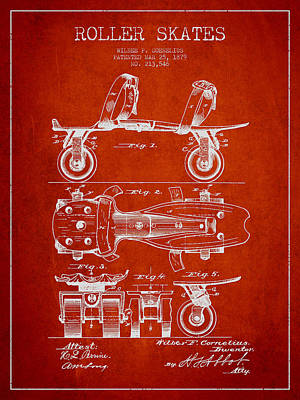 Roller Skate Patent Drawing From 1879 - Red Poster by Aged Pixel