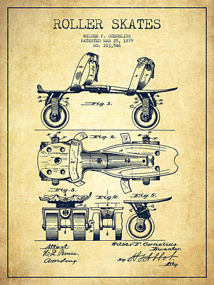 Roller Skate Patent Drawing From 1879 - Vintage Poster