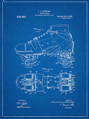 Roller Skate Patent One In Blue Poster
