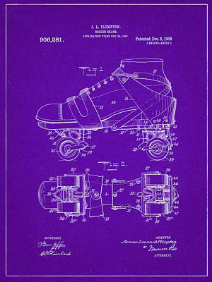 Roller Skate Patent One In Purple Poster