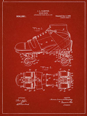 Roller Skate Patent One In Red Poster