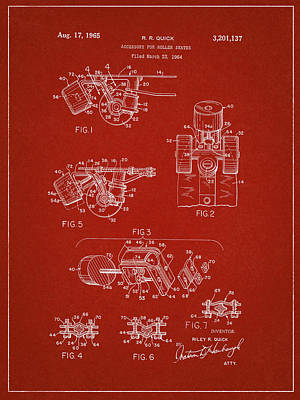 Roller Skate Patent Two In Red Poster