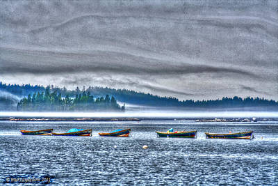 Rolling Mist Over Boats Poster