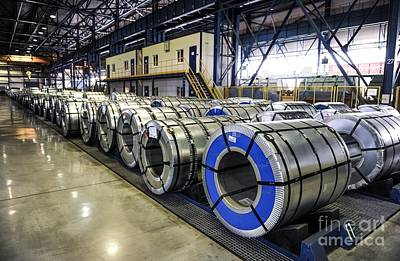 Rolls Of Steel Sheet At A Factory Poster