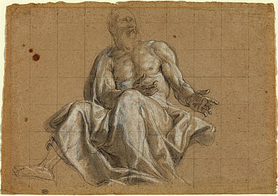 Roman 18th Century, An Elderly Man In Classical Drapery Poster by Quint Lox