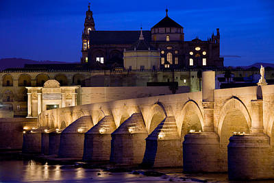 Roman Bridge And Mezquita In Cordoba At Dawn Poster by Artur Bogacki