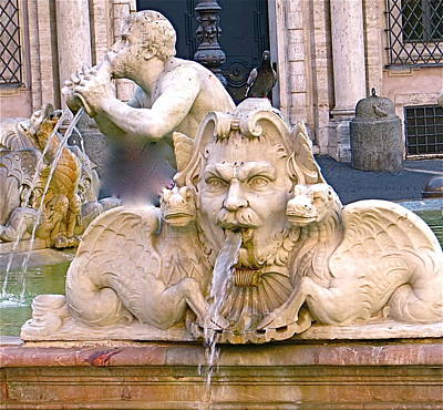 Roman Fountain Poster by Rita Mueller
