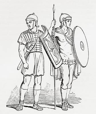 Roman Infantry Soldiers, After Figures On Trajans Column.  From The Imperial Bible Dictionary Poster by Bridgeman Images