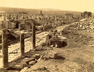 Roman Ruins Thamugas, Algiers, Neurdein Brothers 1860 1890 Poster
