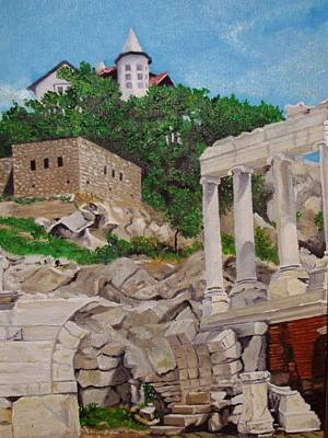 Poster featuring the painting Roman Stadium In Plovdiv by Nina Mitkova