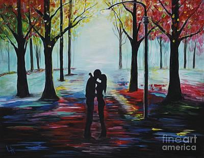 Romantic Kiss Poster by Leslie Allen