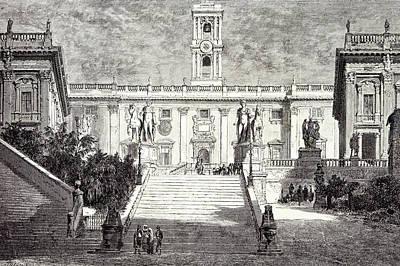 Rome Italy 1875 Facade Of The Senatorial Palace Poster by Italian School