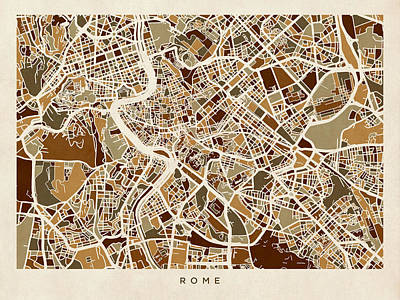 Rome Italy Street Map Poster by Michael Tompsett