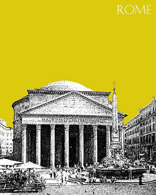 Rome Skyline The Pantheon - Mustard Poster