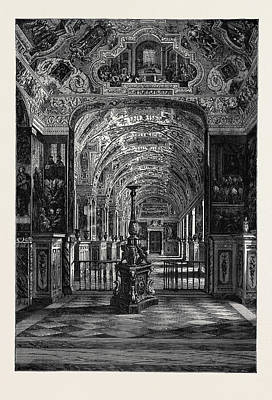 Rome The Grand Gallery Of The Vatican Library Poster by Italian School