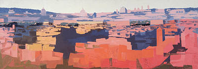 Rome, View From The Spanish Academy On The Gianicolo, Sunset, 1968 Oil On Canvas See Also 213353 & Poster