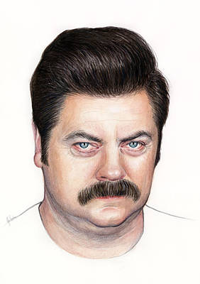 Ron Swanson Portrait Nick Offerman Poster by Olga Shvartsur