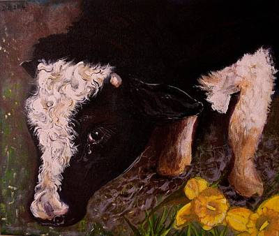 Poster featuring the painting Ron The Bull by Maria  Disley