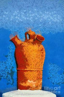 Roof Pottery In Sifnos Island Poster by George Atsametakis