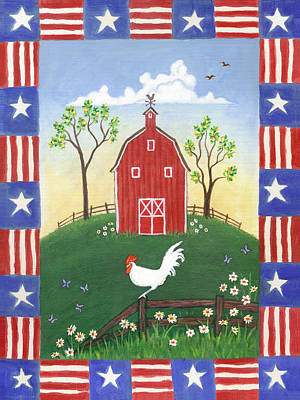 Rooster Americana Poster by Linda Mears