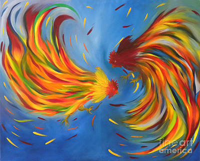 Poster featuring the painting Rooster Fight by Fanny Diaz