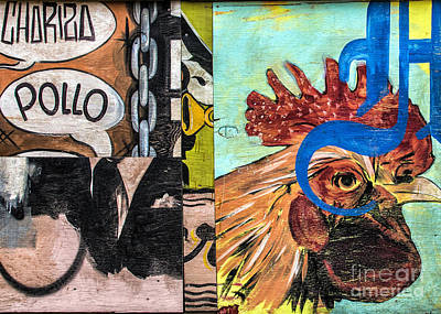 Poster featuring the mixed media Rooster Graffiti by Terry Rowe