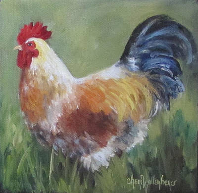Poster featuring the painting Rooster Of Color by Cheri Wollenberg