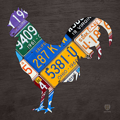 Rooster Recycled License Plate Art On Gray Wood Poster
