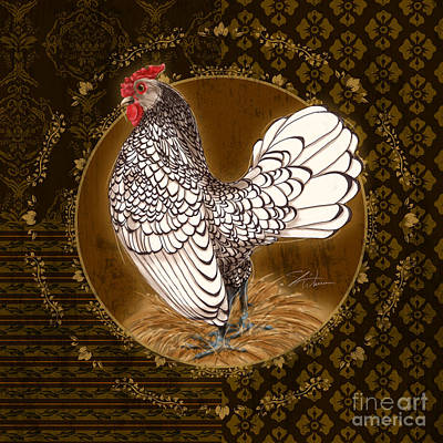 Rooster Silver Poster by Shari Warren