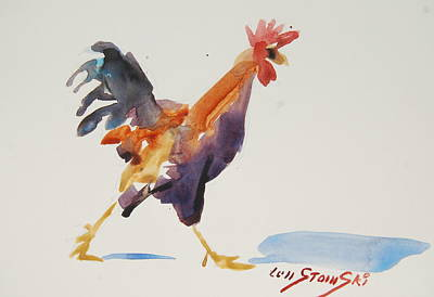 Rooster Study 2 Poster by Len Stomski