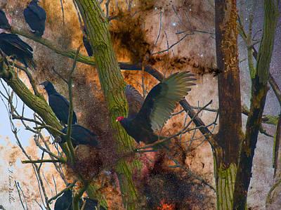 Roosting Vultures Poster by J Larry Walker