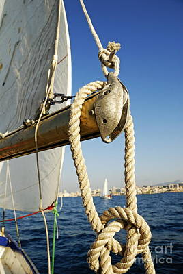 Rope On Sailboat Mast During Navigation Poster by Sami Sarkis