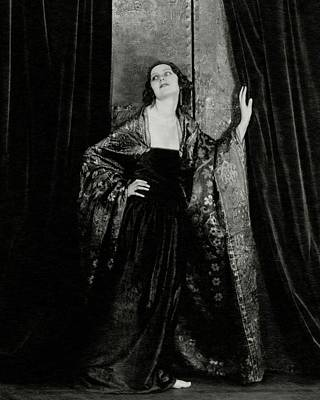 Rosalind Fuller Wearing A Dress And Cape Poster