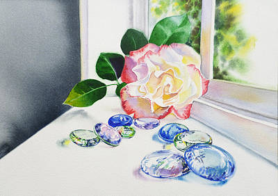 Rose And Glass Rocks Poster by Irina Sztukowski
