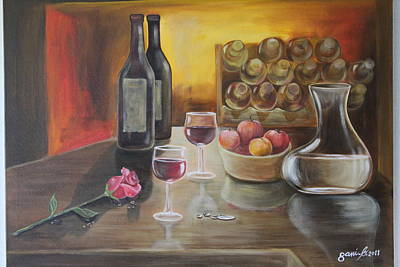 Rose And Wine Poster