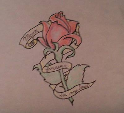 Poster featuring the drawing Rose For Mom by Thomasina Durkay