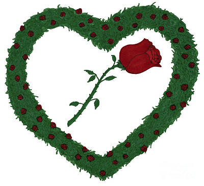 Rose Heart Rose Bushes Illustration Poster by Lee Serenethos
