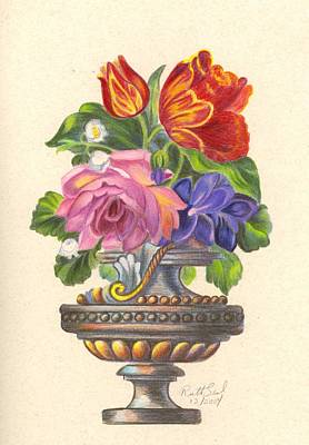 Rose In Antique Vase Poster