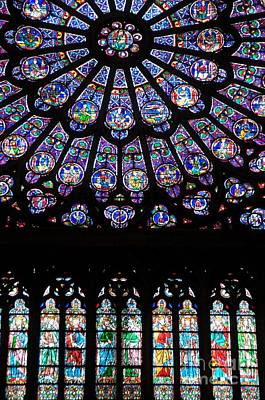 Rose Window . Famous Stained Glass Window Inside Notre Dame Cathedral. Paris Poster