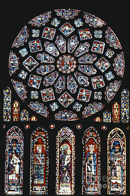 Rose Window At Chartres Cathedral Poster by Explorer