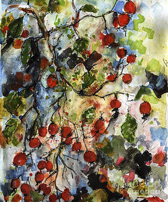 Rosehips By Ginette Watercolor And Ink Poster