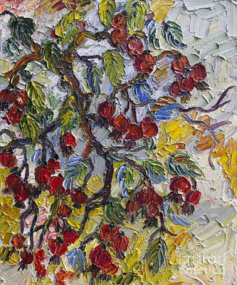 Rosehips Modern Impressionist Oil Painting Poster by Ginette Callaway