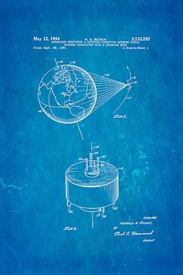 Rosen Communications Satellite Patent Art 1964 Blueprint Poster by Ian Monk