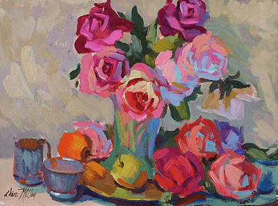 Roses And Apples Poster by Diane McClary