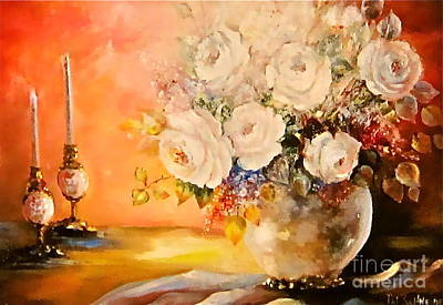 Roses And Candlelight Poster by Patricia Schneider Mitchell