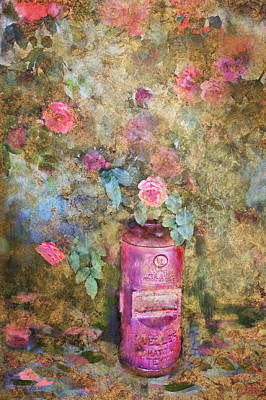 Roses And Fire Hydrant Poster