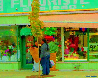 Roses At The Flower Shop Fleuriste Coin Vert Rue Notre Dame Springtime Scenes Carole Spandau Poster by Carole Spandau