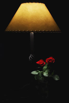 Roses By Lamplight Poster by Ron White