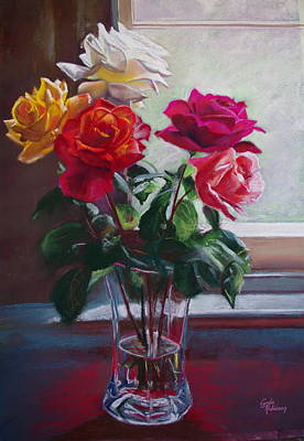 Roses By The Window Poster by Lynda Robinson