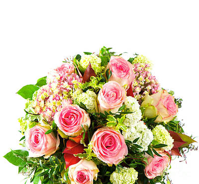 Roses Colorful Flower Bouquets Poster by Boon Mee